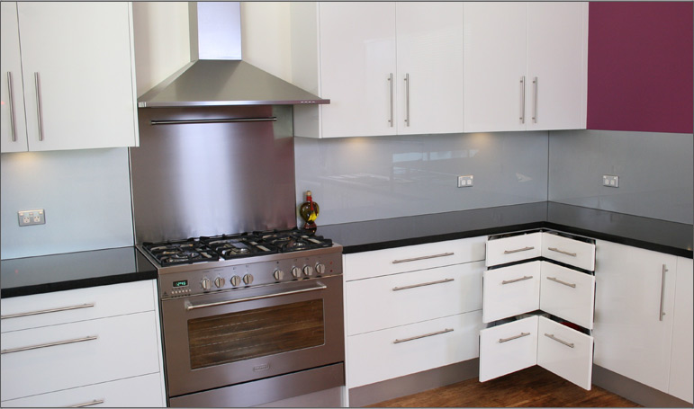 White Kitchen Black Benchtop contemporary vinyl kitchens | cdk