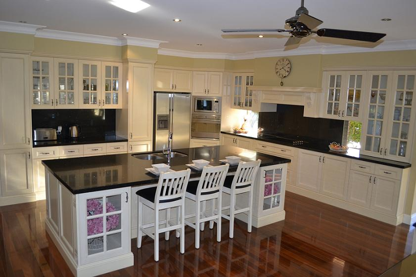 New Hand Painted French Provincial Kitchen With Mantle Black Stone Benchtop And Timber Floors